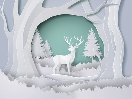 Illustration for Deer in forest with snow in the winter season and christmas. vector paper art style. - Royalty Free Image