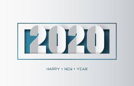 Ilustración de Happy new year 2020 text design with paper cut  style. - Imagen libre de derechos