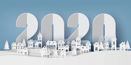Ilustración de Winter Snow Urban Countryside Landscape City Village, Happy new year 2020 and Merry christmas, paper art and cut style. - Imagen libre de derechos