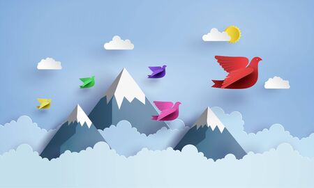 Illustration for origami made colorful paper bird flying on blue sky over moutian with clound . paper art and craft style. - Royalty Free Image