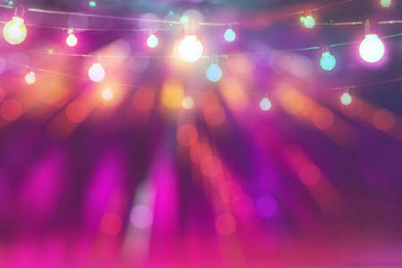 Photo for abstract blurred of colorful glittering light bulb background in festival party - Royalty Free Image