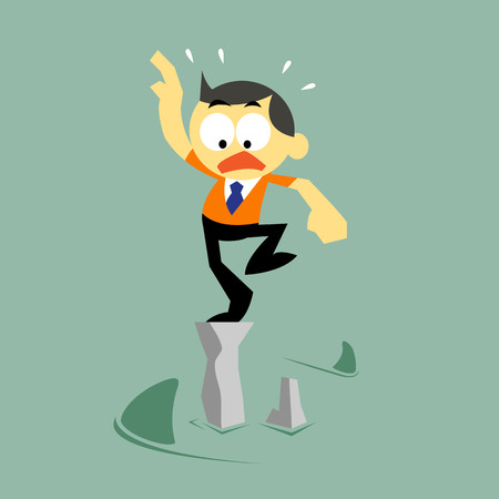 Vector Cartoon Businessman and Risk Status, Risk management