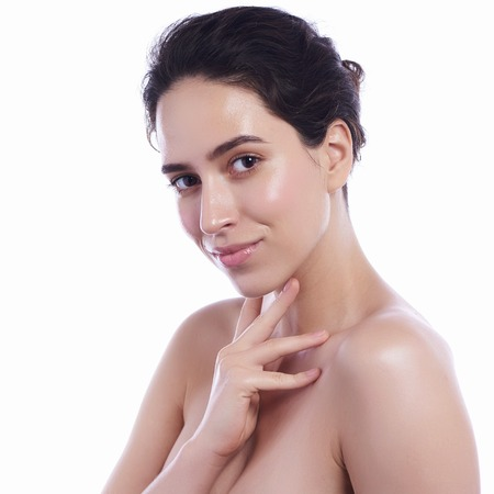 Photo pour Beauty Woman face Portrait. Beautiful Spa model Girl with Perfect Fresh Clean Skin. Female looking at camera and smiling. - image libre de droit