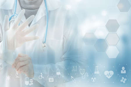 Photo pour Close-up doctor wearing gloves isolated on Health care icon pattern medical innovation concept background design. - image libre de droit