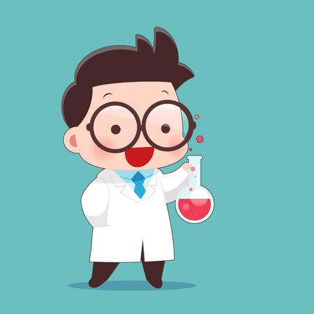 Illustration pour Cartoon Scientist With Test Tube And Science Experiments, Idea Concept With Character Design. - image libre de droit