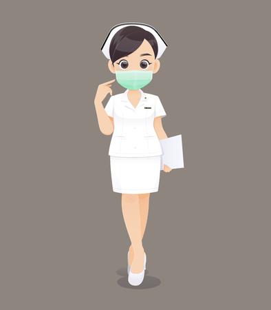 Ilustración de Nursing wears a protective mask, Cartoon woman doctor or nurse in white uniform holding a clipboard, Vector illustration in character design - Imagen libre de derechos