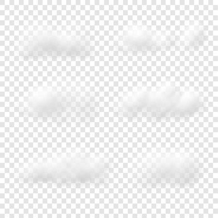 Illustration pour Realistic white cloud vectors isolated on transparent background, Fluffy cubes like white cotton wool - image libre de droit