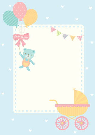 Illustration pour Cute baby shower greeting card for new born decorated with baby carriage and bear doll hold balloons on blue pastel color for background template. - image libre de droit