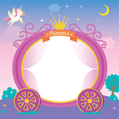 Illustration pour Illustration of cute princess cart template on night background with unicorn stars and moon. - image libre de droit