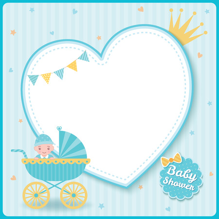 Illustration for Baby boy shower greeting card for new born girls decorated with baby stroller on blue heart frame background. - Royalty Free Image