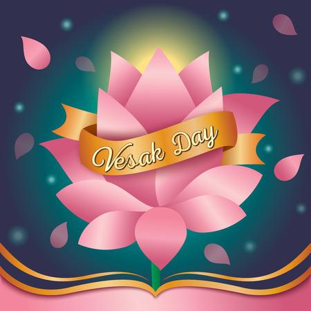 Illustration pour Illustration vector of Vesak day design with pink lotus  background. - image libre de droit