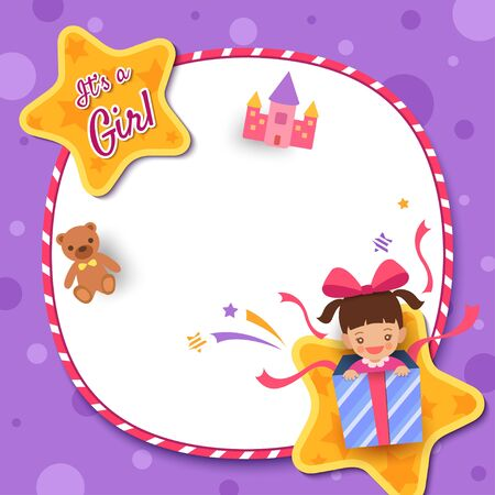 Illustration for Baby Shower greeting card with a girl in present box decorated with circle frame and star on purple background - Royalty Free Image