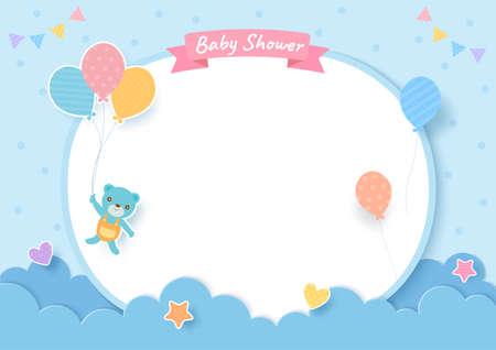 Vektor für Baby shower card with teddy bear and balloons on blue background - Lizenzfreies Bild