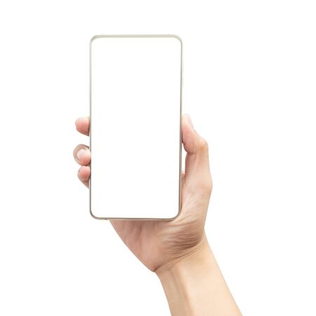 Photo for Male hand holding the gold smartphone with blank screen isolated on white background with clipping path - Royalty Free Image