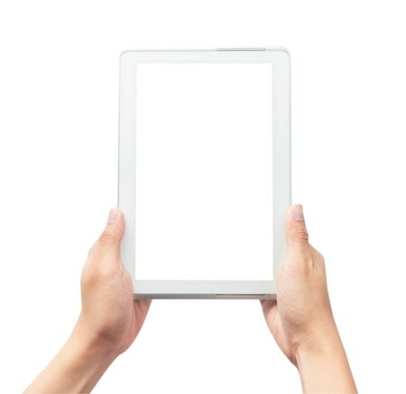 Photo pour Male hand holding the white tablet pc computer with blank screen isolated on white background - image libre de droit