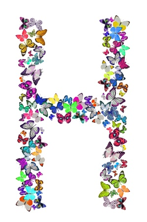 Butterfly font in white  Letter H
