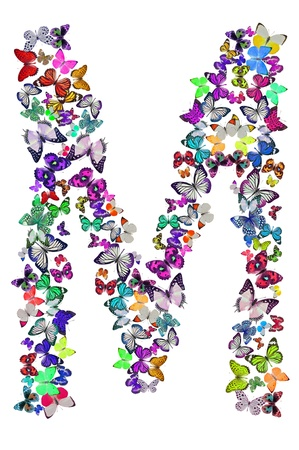 Butterfly font in white  Letter M