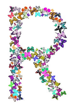 Butterfly font in white  Letter R