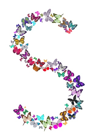 Butterfly font in white  Letter S