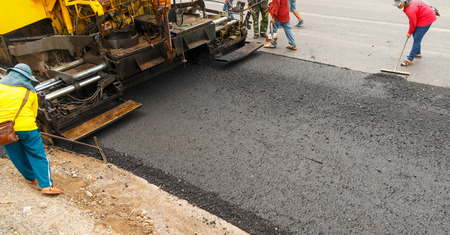 Light Vibration roller compactor at road under construction and repairing asphalt, Road making.