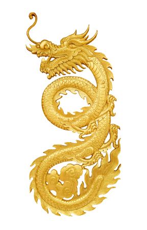 Photo for Close up golden wooden craft dragon isolated on white background - Royalty Free Image