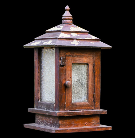 Close up old wooden lamp isolated backgrouind