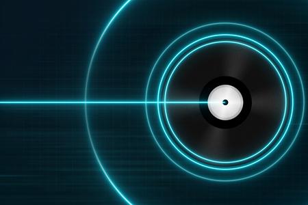 Photo pour Classic Black Vinyl Records with Blue Light - Electronic Music Concept - image libre de droit