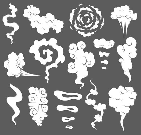 Illustration pour Bad smell. Smoke clouds. Steam smoke clouds of cigarettes or expired old food vector cooking cartoon icons. Illustration of smell vapor, cloud aroma. - image libre de droit