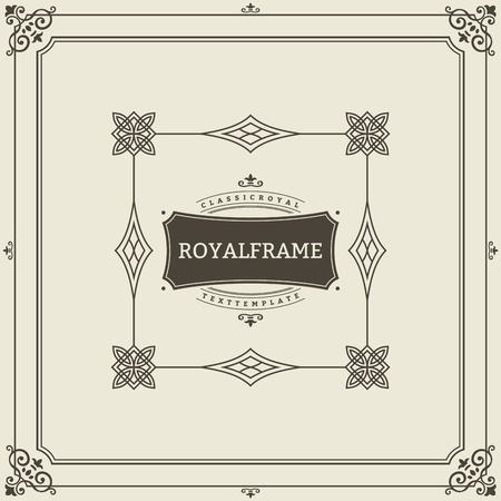 Photo pour Vintage Ornament Greeting Card Vector Template. Retro Luxury Invitation, Royal Certificate. Flourishes frame. Vintage Background, Vintage Frame, Vintage Ornament, Ornaments Vector, Ornamental Frame. - image libre de droit