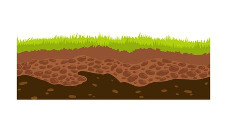 Illustration for Seamless ground, soil and land vector image for UI games. Surface of ground, stone grass illustration. - Royalty Free Image