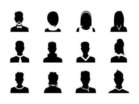 Illustration pour Set of vector men and women with business avatar profile picture. Avatars silhouette. - image libre de droit