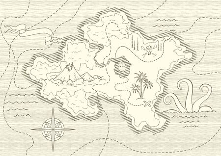 Illustration pour Old hand drawn map with vintage, wind rose, routs, nautical symbols and handwritten inscri ptions. Vector abstract seamless background on the theme of travel, adventure and discovery - image libre de droit