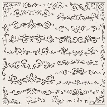 Illustration pour Vector set of calligraphic design elements and page decorations. Elegant collection of hand drawn swirls and curls for your design. Isolated on beige background - image libre de droit