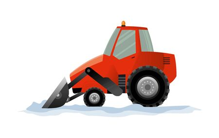 Illustration pour Heavy Equipment cleans the road from the snow. Road works. Snowplow equipment isolated on white background. Excavator bulldozer snowblower transportation. - image libre de droit
