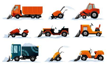Illustration pour Snow removers. Road works. Set of snowplow equipment isolated on white background. Snow plow truck, excavator bulldozer, mini tractor snowblower transportation. - image libre de droit