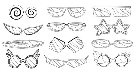 Cartoon vector eyeglasses or sunglasses in stylish shapes for party and fashion. Optical spectacles. Set of glasses view accessories. Illustration in sketch style. Coloring.