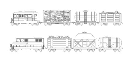 Freight train cargo cars with Container and box freight train. Rolling stock transport illustration set. Logistics heavy railway transport design elements. Sketch coloring style vector illustration.