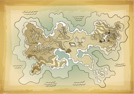 Illustration pour Retro styled treasure map. Vector design for app game user interface. Vintage adventure and discovery travel routes. - image libre de droit