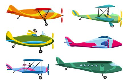 Illustration for Retro airplane set. Collection of old aiplane aircraft. Different types of plane. Vector icons illustration - Royalty Free Image