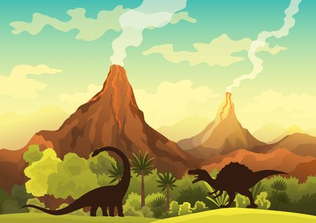 Illustration pour Prehistoric landscape - volcano with smoke, mountains, dinosaurs and green vegetation. Vector illustration of beautiful prehistoric landscape and dinosaurs - image libre de droit