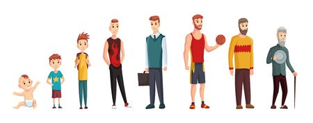Illustration pour Male different age. Newborn baby, teenage boy and student ages, adult man and old grandfather. People generations or male aging process. Kid, student and adult man, life cycle - image libre de droit