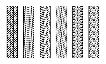 Illustration for Editable tire tracks texture. Collection seamless tire pattern. Detailed tracks protector image. Set of tire imprints - Royalty Free Image