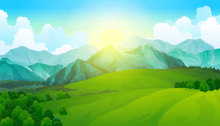 Illustration pour Landscape green meadows with mountains. Summer valley view. Landscape hill field. Wild nature grass and forest in countryside. Summer vector land with sunrise - image libre de droit