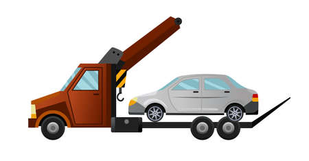 Illustration pour Tow truck. Cool flat towing truck with broken car. Road car repair service assistance vehicle with damaged or salvaged car - image libre de droit
