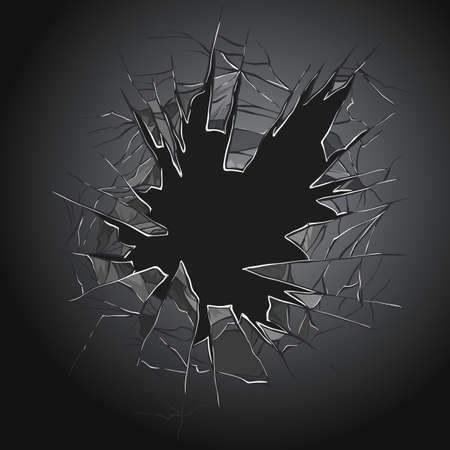 Illustration for Broken glass. Cracked window. Texture of realistic destruction hole in transparent damaged glass. Vector realistic shattered glass template - Royalty Free Image