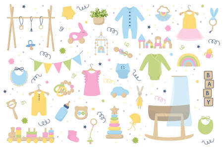 Illustration for Baby trendy clothes, accessories and wooden toys. Zero waste Nursery collection with body suit, montessori toys, cradle, bassinet. Hand drawn vector illustration set isolated on white background. - Royalty Free Image