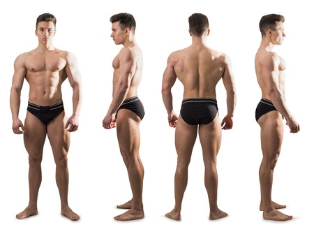 Photo pour Four views of muscular shirtless male bodybuilder: back, front and profile shot, isolated on white background - image libre de droit