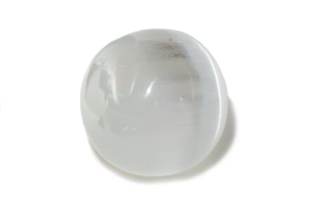 Photo for Beautiful white selenite sphere, cut mineral on white background, isolated - Royalty Free Image