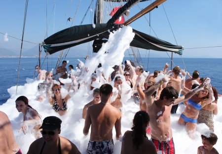 ALANYA - September 26  Foam Boat Party at sea  Antalya, Turkey