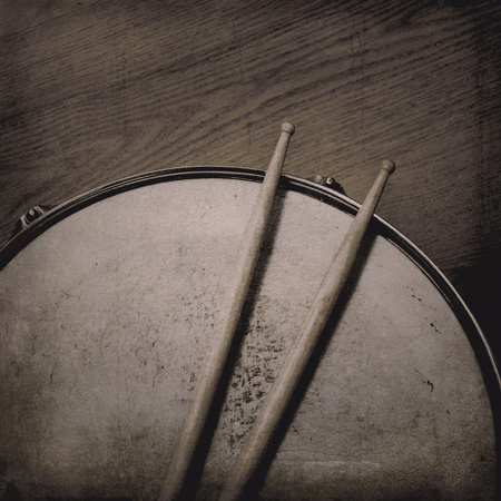 Grunge music background with Snare Drum and Sticks